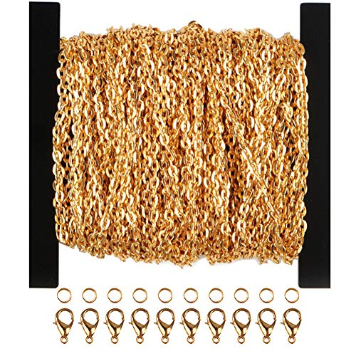 WUBOECE 39 Feet Curb Chain Necklace Bulk Cable 3mm Width with 30 Lobster Clasps and 100 Open Jump Rings for Jewelry Making, Gold (3mm)