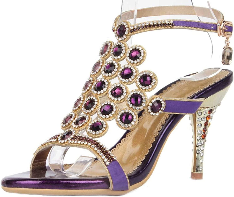LizForm New Rhinestone Slingback Wedding Sandal Cutout Strappy Evening Sandal Heels