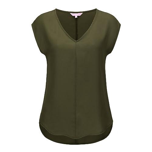 1030c231880 Regna X Love Coated Womens V-Neck Sleeveless Summer Chiffon Blouses (5  Styles