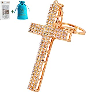 Bolbove Big Holly Cross Keychain Sparkling Keyring Crystal Rhinestones Purse Pendant Handbag Charm (Clear)