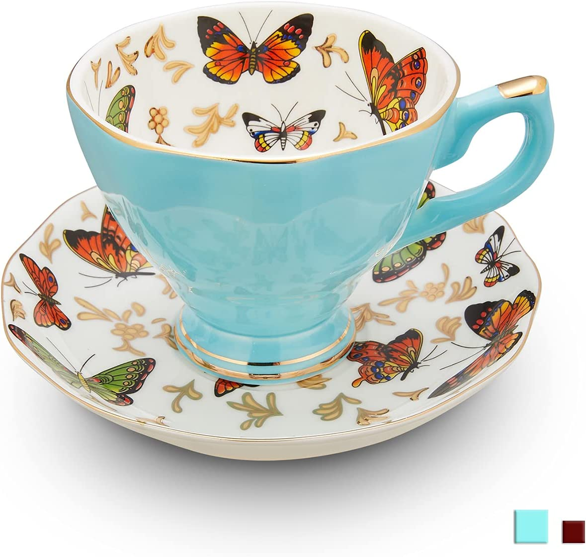 LURRIER Coffee Cup for Special Campaign Latte Elegant Fine China Bu Bone with Set Tea