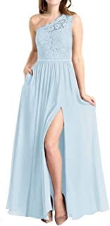 Jonlyc A-Line One Shoulder Long Evening Gowns Bridesmaid Dresses with Split