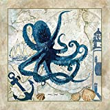 Home-Feeling Print-ON-Stretched-Canvas-Nautical-Octopus-Animals-Fine-Art-Work-Framed-on-Wooden-Bars, 16_X_16_in
