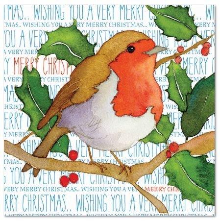 Wensen u een zeer vrolijk Kerstmis - kleine kerst ROBIN op HOLLY BRANCH - Emma bal ontwerp - Set van 6 kerst groeten kaarten & enveloppen - 12,5 cm