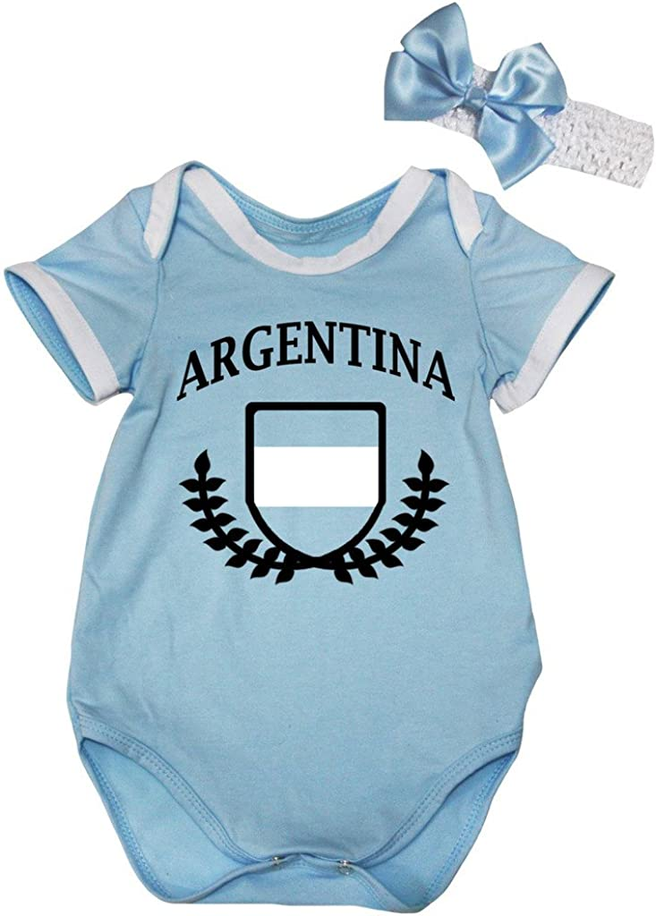 Petitebelle National Theme Argentina Flag Light Blue Cotton Baby Bodysuit Nb-18m
