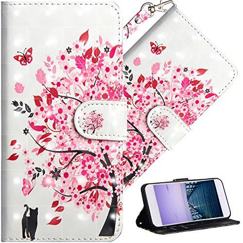 COTDINFOR pour Sony Xperia XZ1 Coque Protection Élégant 3D Effet Peint PU Portefeuille Étui en Cuir Cover Flip Stand Shell Bumper Housse pour Sony Xperia XZ1 Flower Tree Cat YX.