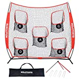 XCSOURCE Football Trainer Throwing Net | 8' x 8' or 7' x 7' Quarterback Throwing Nets | with Kickoff Football Holders, Carry Bag | 5 Targets to Improve QB Accuracy (8 x 8)