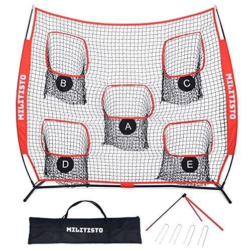 XCSOURCE Football Trainer Throwing Net | 8' x 8' or 7' x 7' Quarterback Throwing Nets | with Kickoff Football Holders, Carry Bag | 5 Targets to Improve QB Accuracy (8' x 8')