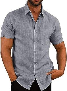 VANVENE Men's Short Sleeve Shirts Casual Regular Fit Business Linen Button-Down Shirts