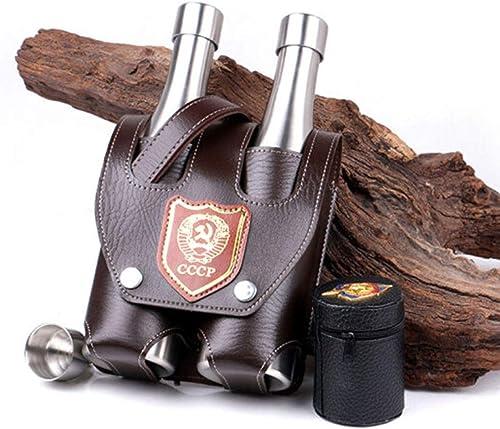 SHENGSHIHUIZHONG Flagon, fiole de hanche, fiole de hanche en acier inoxydable, bouteille Shochu, verseuse de camping en plein air pour whisky, environ 2 kg, bouteille double Qualité, portable et durab