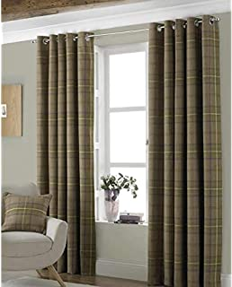 Riva Paoletti Aviemore Eyelet Curtains, Brown, 90 X 90 (229 X 229 CM), Polyester, Thistle