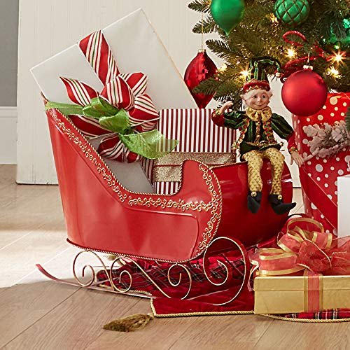 BrylaneHome Red Metal Sleigh Christmas Decoration, Red