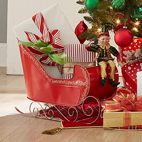 BrylaneHome Christmas Red Metal Sleigh Christmas Decoration, Red