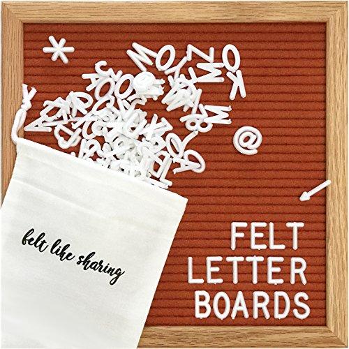 Felt Letter Board, 10x10in Changeable Letter Board with Letters White 300 Piece - Felt Message Board, Oak Frame Wooden Letter Board for Baby Announcements, Milestones, Office Decor & More (Rusty Red)