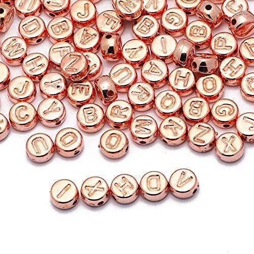 JSTF Mezcla de cuentas de acrílico con letras de oro rosa de 4 x 7 mm redondo espaciador del alfabeto cuentas sueltas para hacer joyas DIY collar pulsera accesorios