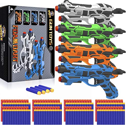 4 Pack Blaster Guns Toy Darts Gun for Boys, Hand Gun Toys Set with 80 Pcs Soft Foam Bullet for Kids...