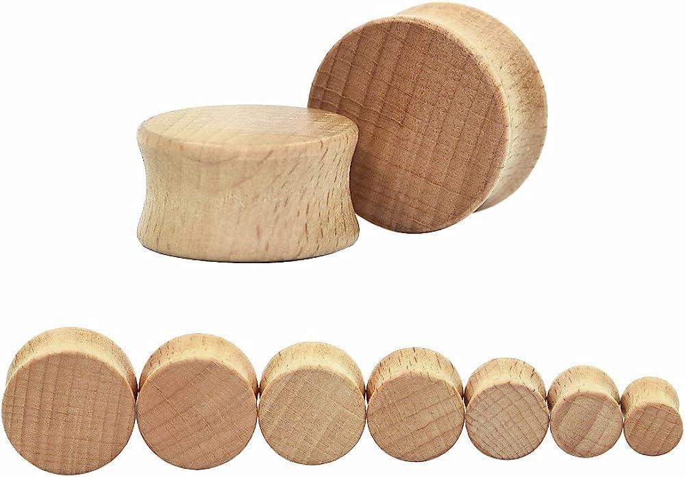 Sawo Wood Double Flare Tunnel Organic Wood Ear Plug Gauges Body Piercing Jewelry Pair