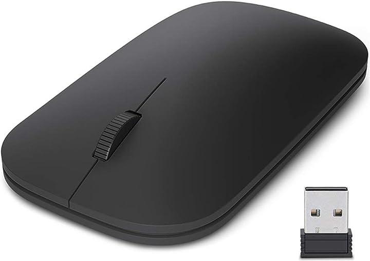 Mouse ricaricabile wireless, mouse mini ottico senza fili 2,4g con nano ricevitore, 1600 dpi easyult Wireless-Mouse-Black-Square