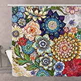 Neasow Boho Floral Shower Curtains for Bathroom, Bright Fabric Blossom Shower Curtain with 12 Hooks, Multi Color...