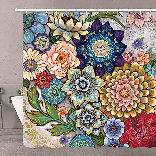 Neasow Boho Floral Shower Curtains for Bathroom, Bright Fabric Blossom Shower Curtain with 12 Hooks, Multi Color 72'×72'
