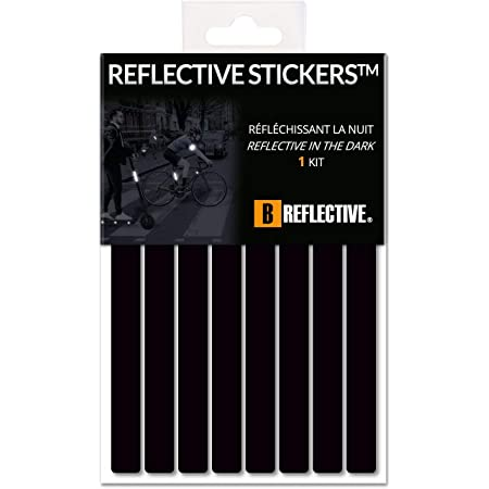 B REFLECTIVE 3M® Lines™, Kit de Rayas Rayas Reflectantes, Multi Soporte: Bicicleta, Scooter, Patinetes, Todos los Tipos de Cascos, 3M Technology, 1x15cm, Negro