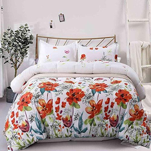 NANKO Queen Comforter Set 3pc 88 x 90, White Red Pastel Floral Print Pattern Soft Microfiber Bedding - All Season Quilted Duvet with 2 Pillowshams - Modern Bed Set for Women Men,Flower
