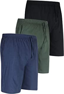 Real Essentials 3 Pack:Men's 100% Cotton Ultra-Soft Knit Sleep Shorts & Lounge Wear