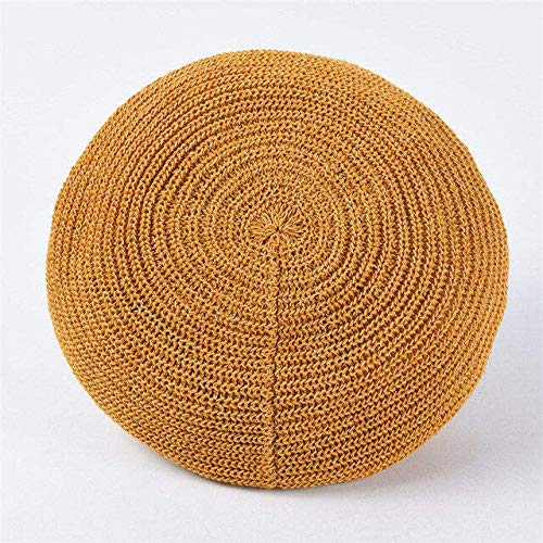 HRS Primavera Verano Mujer Boinas de Punto Señoras Gorra Plana sólida Moda Crochet Gorras francesas Estrellas Painter-Gold
