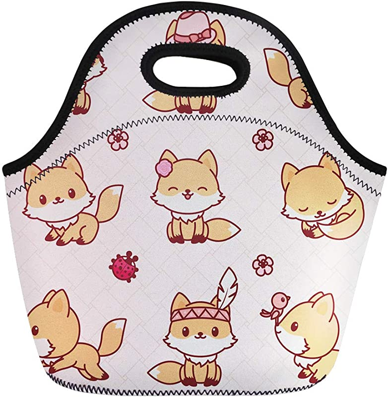 Semtomn Lunch Bags Cartoon Orange Fox Cute Little In Kawaii Animal Avatar Neoprene Lunch Bag Lunchbox Tote Bag Portable Picnic Bag Cooler Bag