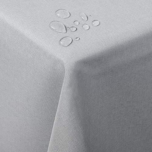 WOLTU TD3040hgr Tischdecke Tischtuch Leinendecke Leinen Optik Lotuseffekt Fleckschutz pflegeleicht abwaschbar schmutzabweisend Farbe & Größe wählbar Eckig 130x160 cm Hell Grau