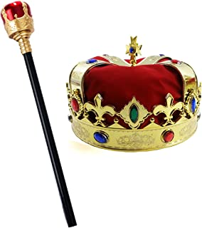 Kings Crown - Royal King Crowns and Princess Tiara - Queen Costume Accessories