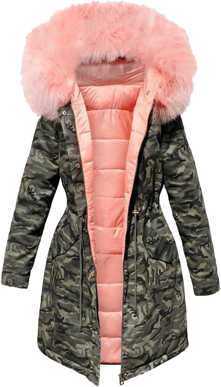 Jxfd Women Warm Long Coat Fur Collar Hooded Jacket Camo Print Outwear