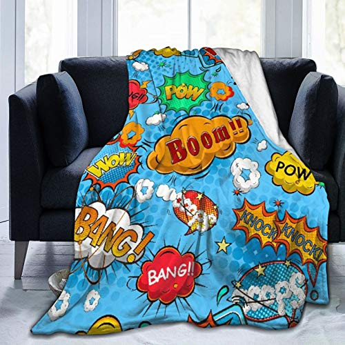 SUHOM Throw Blanket Soft Warm,Superhero Colorful Comic Style Icons Effects Boom Scream Magazine Signs Pop Illustarion,Microfiber Living Room/Bedroom/Sofa Couch Bed Flannel Quilt,60' x 80'