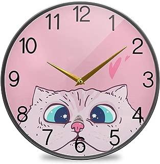 Chovy 掛け時計 サイレント 連続秒針 壁掛け時計 インテリア 置き時計 北欧 おしゃれ かわいい おもしろ ねこ 猫柄 ハート ピンク かわいい 部屋装飾 子供部屋 プレゼント