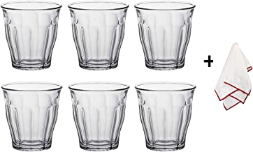 Duralex Picardie Glass Tumblers with a Polishing Cloth