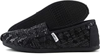 TOMS Women`s Seasonal Classics Black Sequin Glitz Loafer 5 B (M)