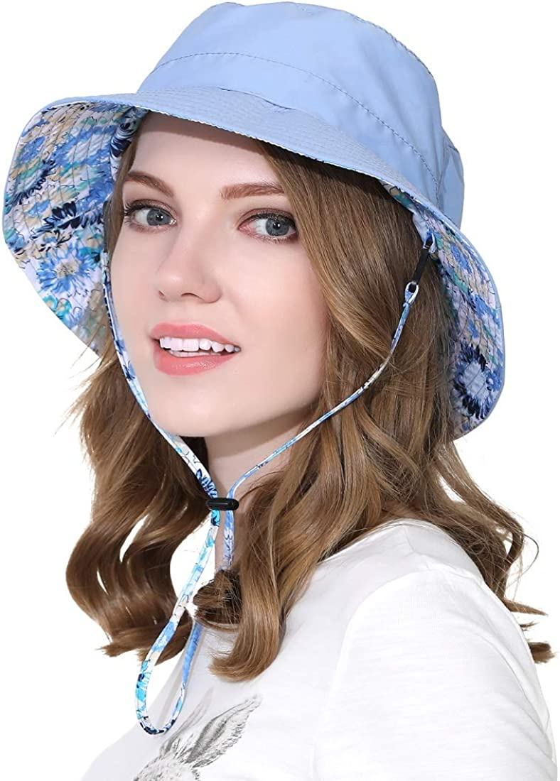 LLmoway Women Bucket Hat Packable Cotton Reversible Sun Hat with Detachable Cord