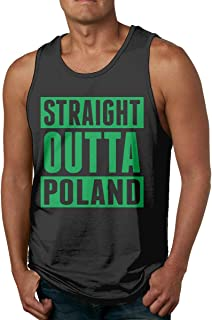 FTFH3KK Straight Outta Poland Men's Comfort Cotton Tank Top Shirts for Running Gym Volleyball Black