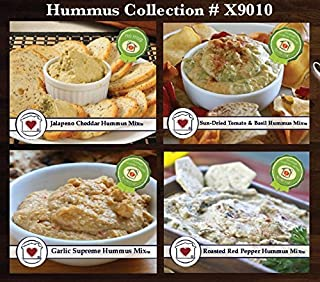 Country Home Creations Premium Gourmet Hummus Mix Collection - 4 Flavors (Garlic Supreme, Jalapeno Cheddar, Roasted Red Pepper, Sun-Dried Tomato & Basil