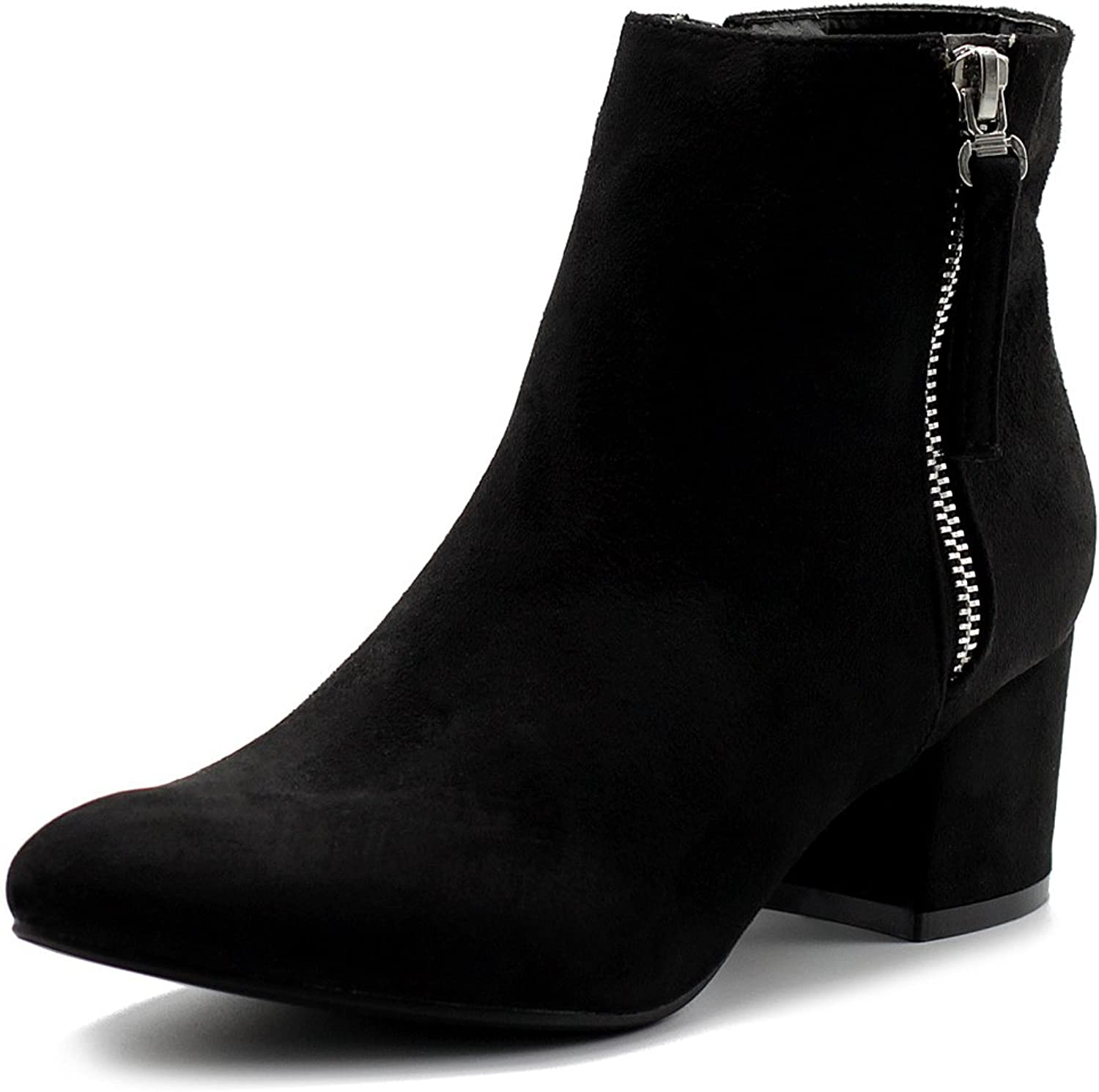 Ollio Women's shoes Faux Suede Chunky Heel Zip Up Ankle Boots
