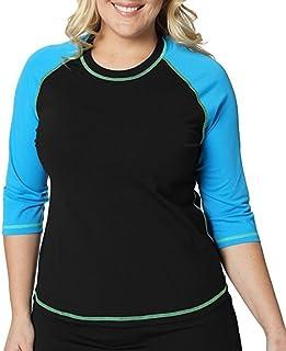 Plus Size Swimwear UV-Protection Summer Beach Wear nOnioX Women Rash Guard Swimsuit Shirts Short Sleeve UPF 50