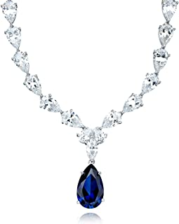 CRISLU Necklace, Platinum Over Sterling Silver Blue and Clear Cubic Zirconia Drop Necklace (50-1/2 ct. t.w.)