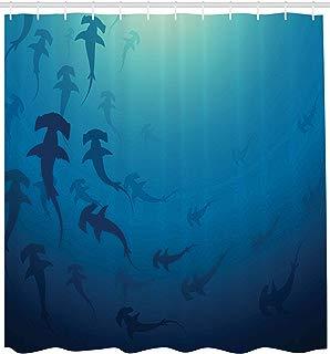 "Ambesonne Sea Animals Shower Curtain, Hammerhead Shark School Scan Ocean Dangerous Predator Wild Nature Illustration, Cloth Fabric Bathroom Decor Set with Hooks, 84"" Extra Long, Navy Blue"
