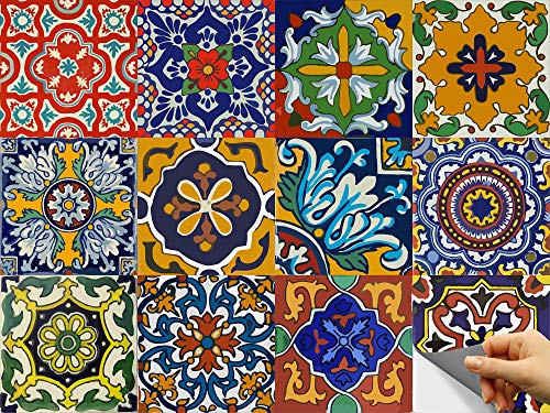 Bleucoin Tile Stickers Kitchen Backsplash Bathroom Vinyl Waterproof Peel and Stick Mexican Talavera Tile Decal (24, 4' x 4' inch)