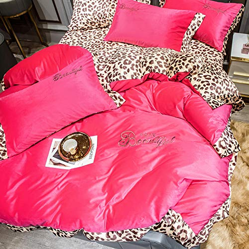 Shinon double teddy bear fleece bedding,Winter yellow double-sided fleece soft leopard print duvet cover bed skirt 4 piece set bed sheet duvet cover pillowcase-K_1.5m bed (4 pieces)