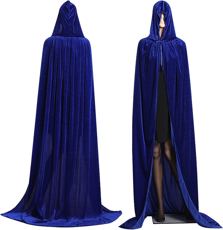 Junjie Halloween Capa Larga con Capucha Terciopelo Color Sólido Abrigos Vampiro Diablo Medieval Elegantes Disfraz de Fiesta Halloween y Carnaval para Adulto Mujeres Hombres