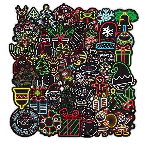 Cute Stickers, Rock Graffiti,Water Bottle Stickers, Animal Stickers, Trendy Stickers for Laptop, Notebook, Skateboard, Luggage, Bumper, Guitar, Bike - Stickers Pack for Teens (Christmas Neon Style)