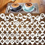 Konsait Cookie Template Stencil, 46 Pieces latte art stencils for Coffee Decorations, Magnoloran Foam Barista Templates Oatmeal Cupcake Cake Hot Chocolate for Children's Day Hawaii Summer Mother's Day