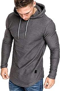 Mens Fashion Athletic Hoodies Sport Sweatshirt Solid Color Fleece Pullover