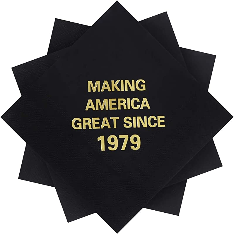 Elcoho 60 Pack 40th Birthday Napkins Black And Gold Beverage Cocktail Beverage Napkins Making America Great Since 1979 Decoration Party Supplies 5 By 5 Inches 1979